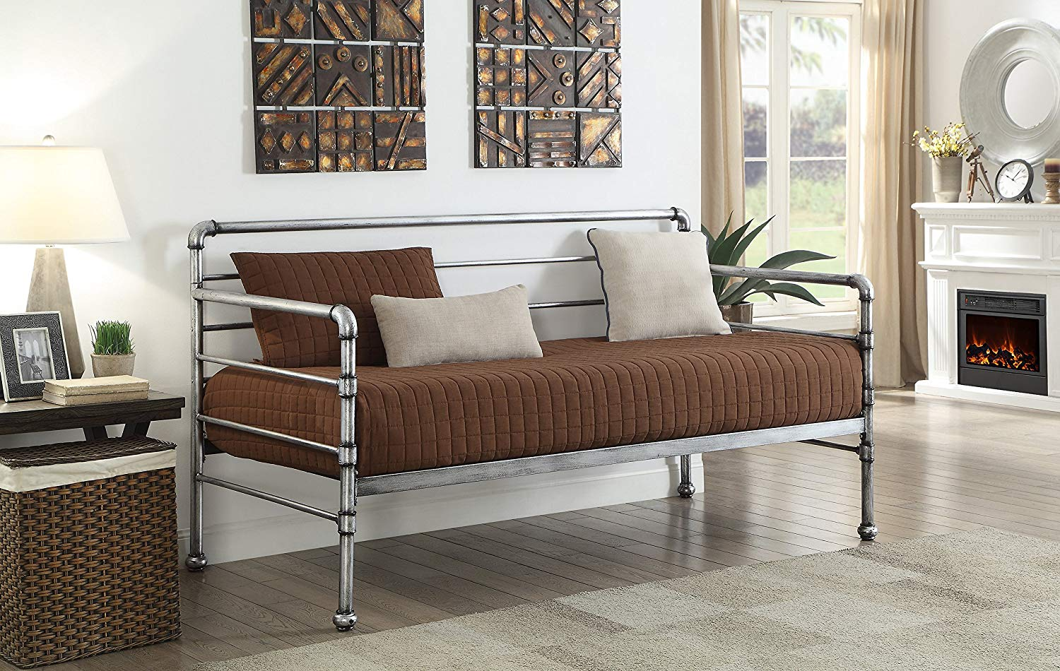 Kings brand furniture vinton metal twin size daybed frame brushed silver finish