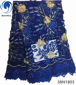 Beautificial Fashion elegant nigerian net lace embroidery with lot stones/beads african lace fabric for party women 5yards TSN18
