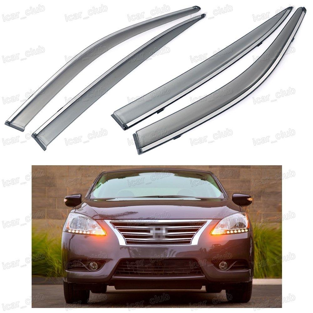 Get Quotations · 4Pcs Car Window Visor Vent Shade Rain Sun Guard Deflectors  for Nissan Sentra 2013 2014 7edd746337e