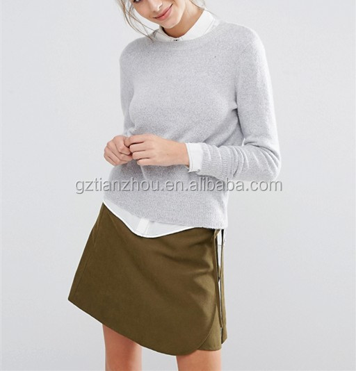 China Supplier Wholesale Clothing OEM Gray Knitted Women Sweater Long Sleeve Crew Neck Sweater