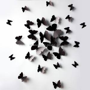 China manufacturer wholesale home decor pieces removable butterfly 3d wall paper stickers