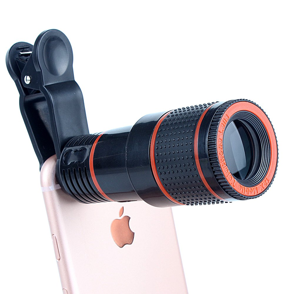 BEST Cell Phone Camera Lens Kit, 12X Optical Zoom Universal High Definition Focus Telescope Mobile Phone Lens with Universal Clip for iPhone, Samsung Galaxy, HTC, Sony, LG & Most Smartph
