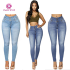 High waisted button design skinny colombian jeans for womens