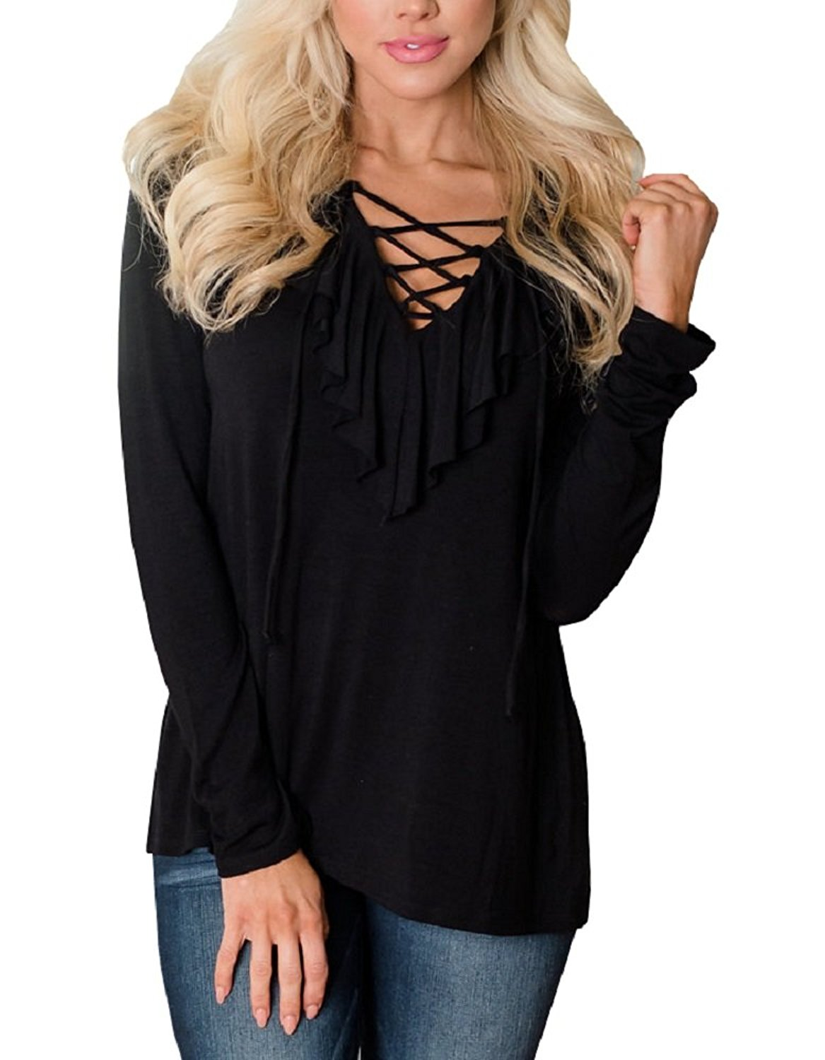 036d1ac082d Get Quotations · Womens V Neck Lace Up Criss Cross Long Sleeve Loose Ruffle Blouse  Shirts Tops Knits