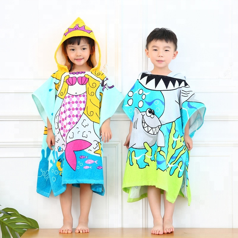 Wholesale Custom Print Personalized Comfortable Lovely 100%Cotton Kids Hooded Poncho Beach <strong>Towel</strong>