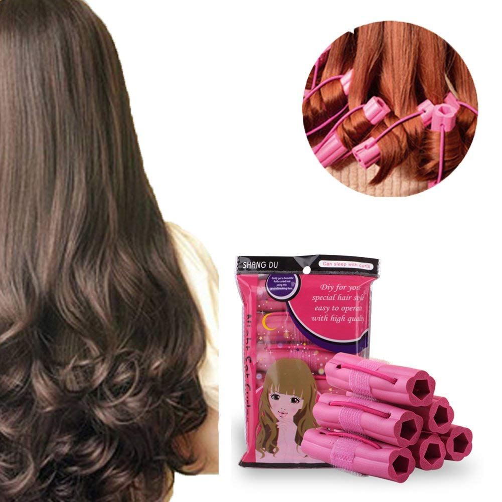 Hair Curlers, Sleeping Soft Sponge Rollers, Pillow Hair Rollers,No Heat Foam Hair Curlers,for Long, Short, Thick & Thin Hair, for Women & Girls - Pillow Curlers - Pink