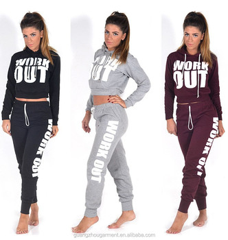 NEW LADIES WORK OUT SLOGAN TRACKSUIT CROP HOODIE JOGGERS SET GYM SUIT ac11faa0a