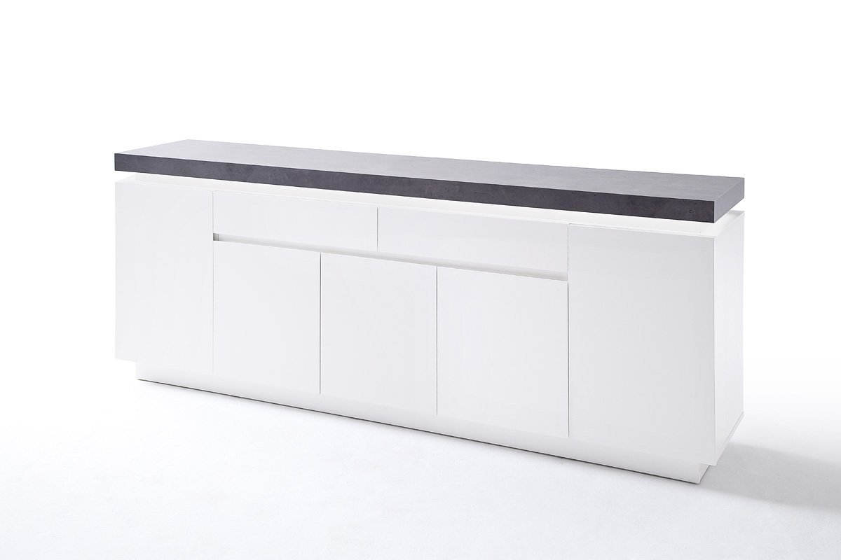 ATLAN 48675WB white chest of drawers - white matte varnish - long 4 drawers dresser