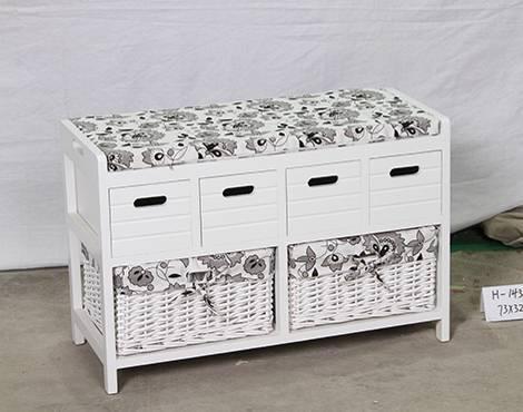 blanc peint paulownia bois banc avec coussin et paniers en osier rangement salon id de produit. Black Bedroom Furniture Sets. Home Design Ideas