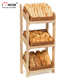3-Layer Bakery Shop Floorstanding Painted Commercial Vintage Solid Wood Health Bread Display Shelves
