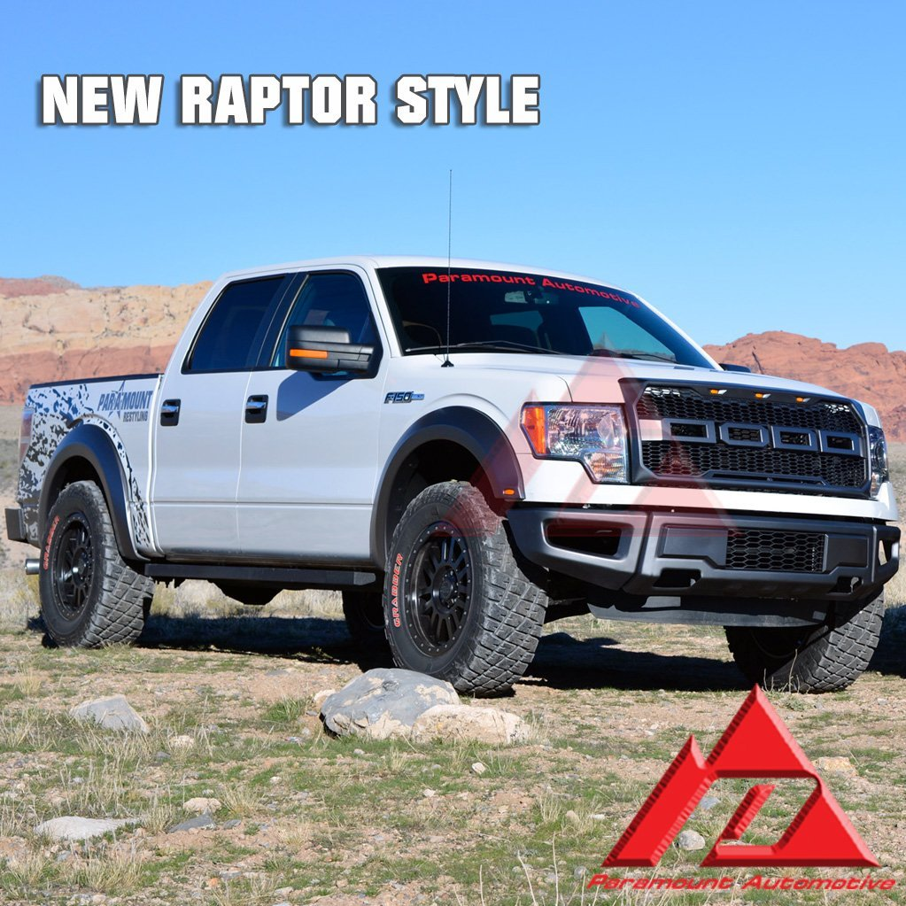 Paramount 41-0158+57-0180+18294RS EA TX 09-14 Ford F150 2017 Raptor Style Front Bumper+Grille+Fender Flares