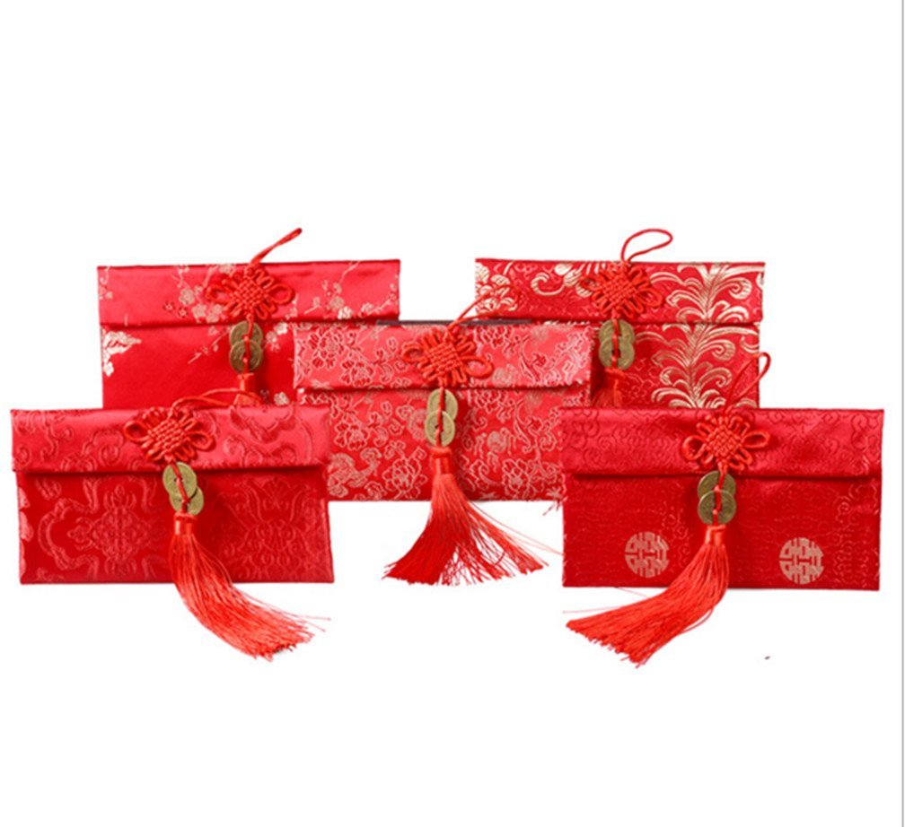 Skyseen 5PCS Chinese Element Festive Silk Brocade Red Envelopes Gift Card Wedding Red Money Pockets