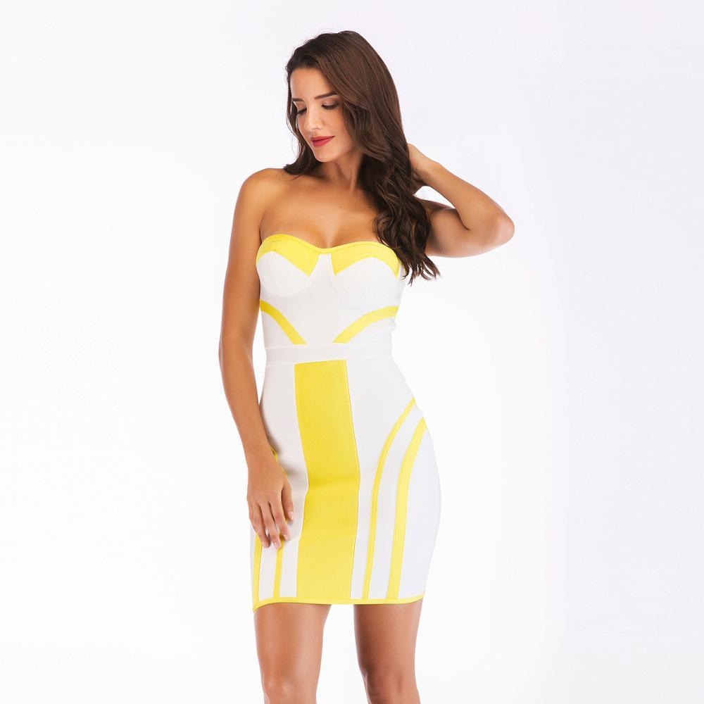c5fedf1f0261 Venta al por mayor vestidos strapless amarillos-Compre online los ...
