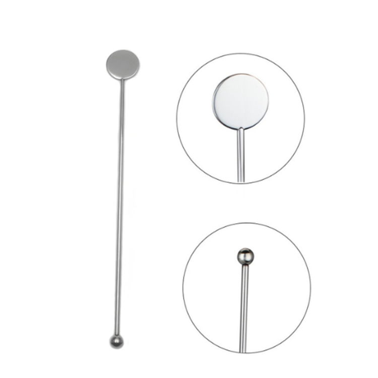 Reusable Stainless Steel Coffee Cocktail Stirrer With Round Shape