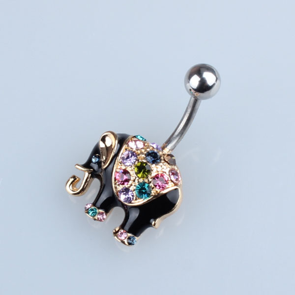 Body Piercing Gioielli In Acciaio Inossidabile 316L Jeweled Elefante Navle Anello Belly Bar