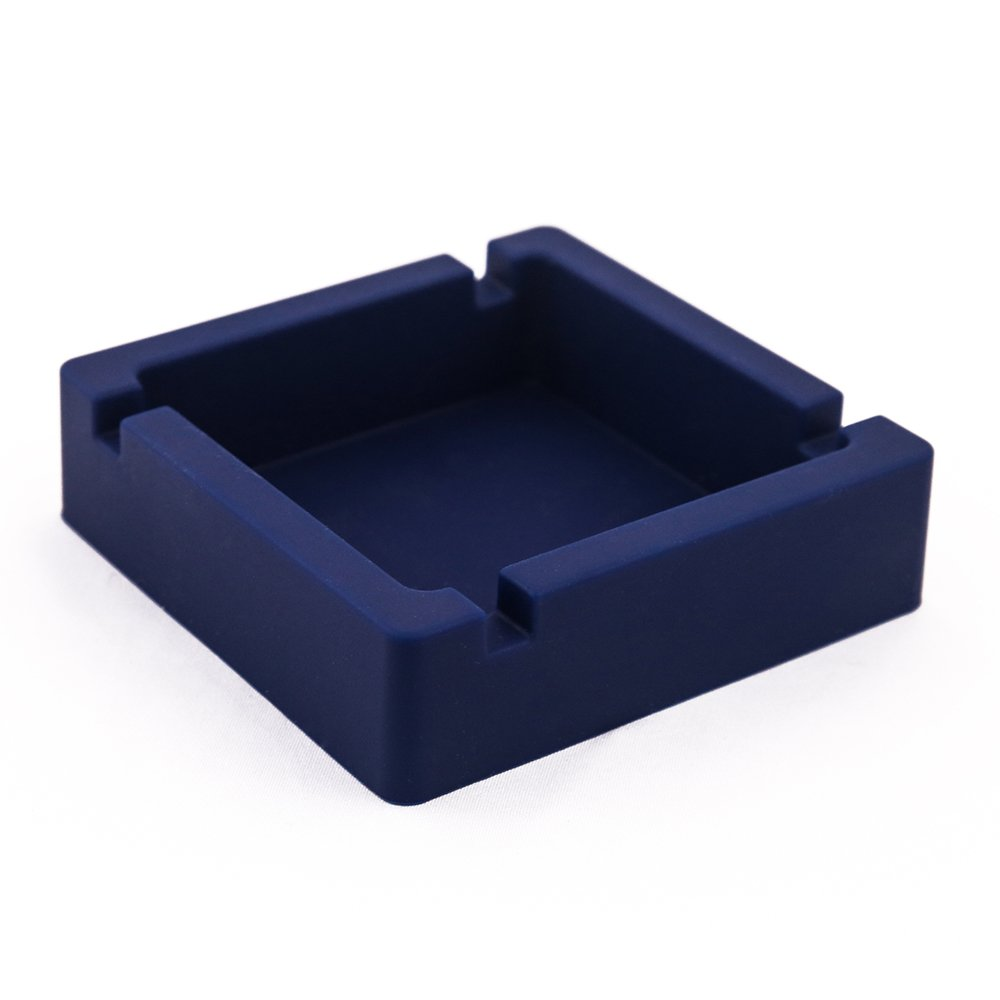 AT MOUSE Ashtray, Silicone Ashtray Square Heat Resistance Cigarette Cigar Holder Tobacco Tray for Home Office(Navy Blue)