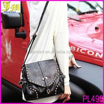 8ed744c8aa01 2014 Latest Design Women bags Black Leather Studded Handbag Long Strap Tote  Messenger Shoulder Bag