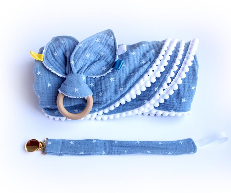 Blue Baby Muslin Swaddle Blanket Set Bunny Ear Teether Toy And Fabric Pacifier Clip Newborn Boy Gift