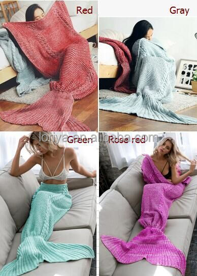 Hot selling ladies hand crochet mermaid tail blanket