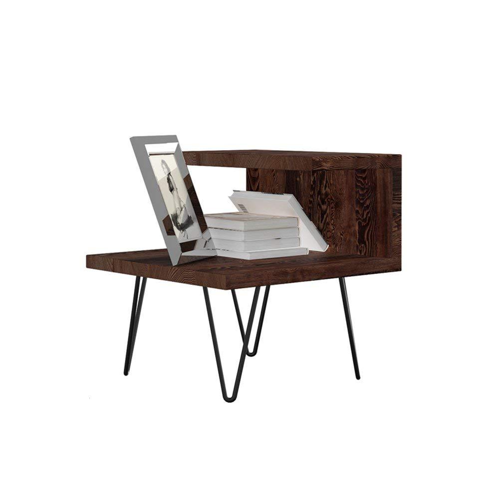 PM-Nightstands Bedside Cabinet Bedside Cabinet Iron Solid Wood Bedside Assembly Bedroom Bedside Cabinet (Color : C-505050)
