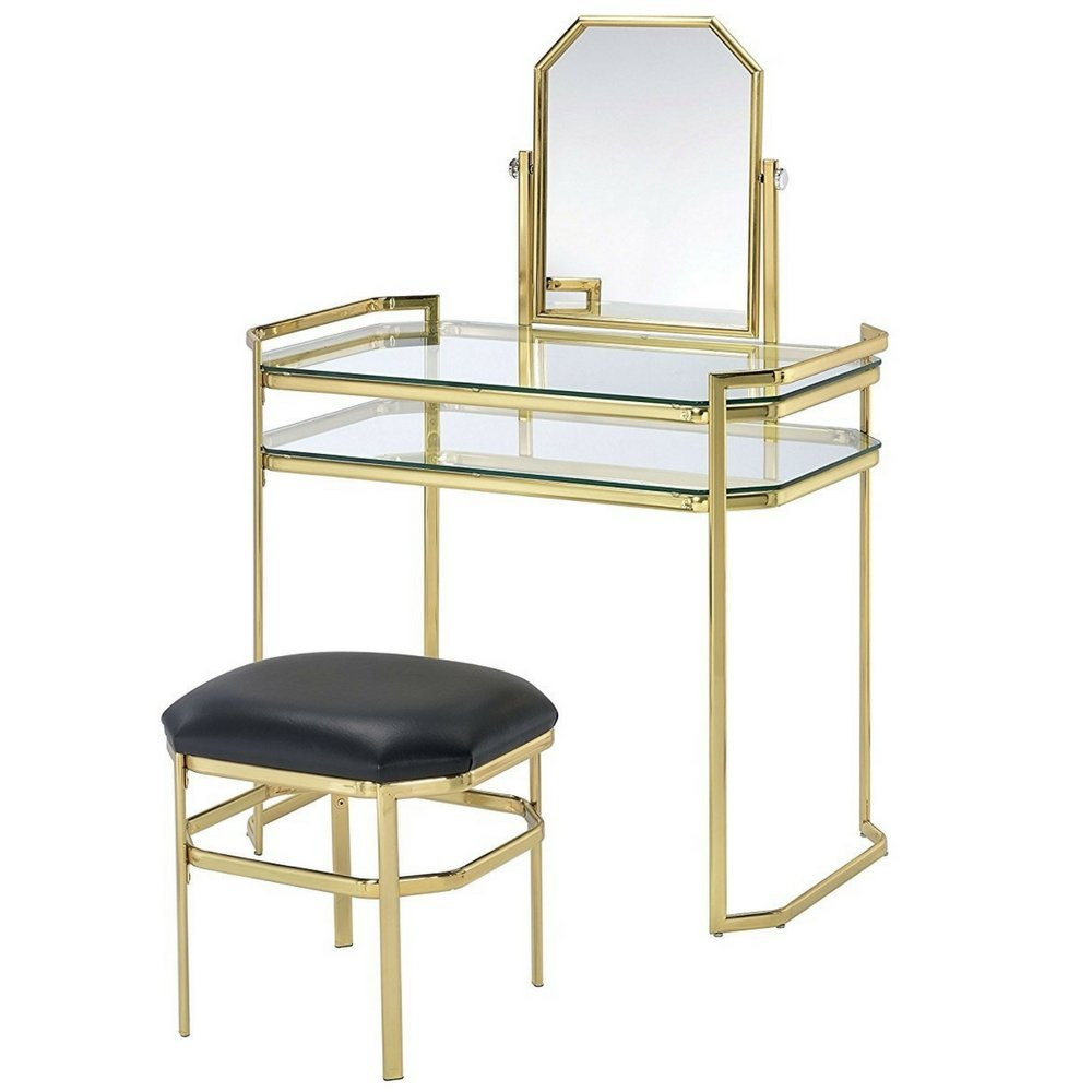 Get Quotations Vanity Makeup Table Set For Women Modern With Adjule Mirror Comfy Cushioned Stool Bedroom S Las