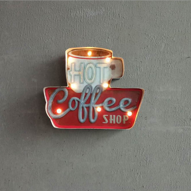 Wall metal plate,Vintage LED coffee tin sign,metal <strong>craft</strong> wholesale