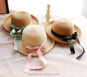 2018 Latest Children Straw Hats Kids Summer Beach Hat Floppy Hat ... 54a25883404