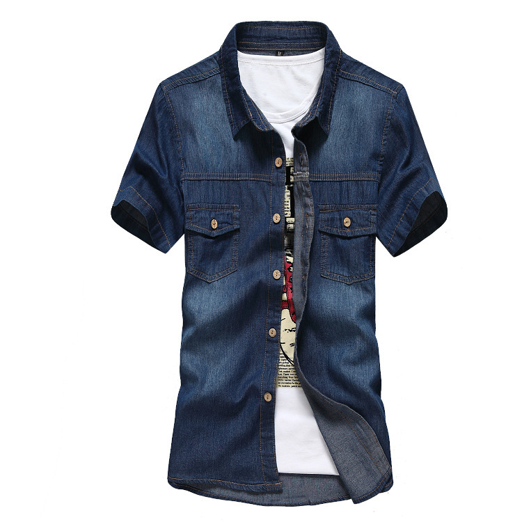 0903c3f4a8f Buy Men denim shirts Summer New denim shirt double pocket stitching design  men slim shirt short sleeve jeans shirt Free shipping in Cheap Price on ...