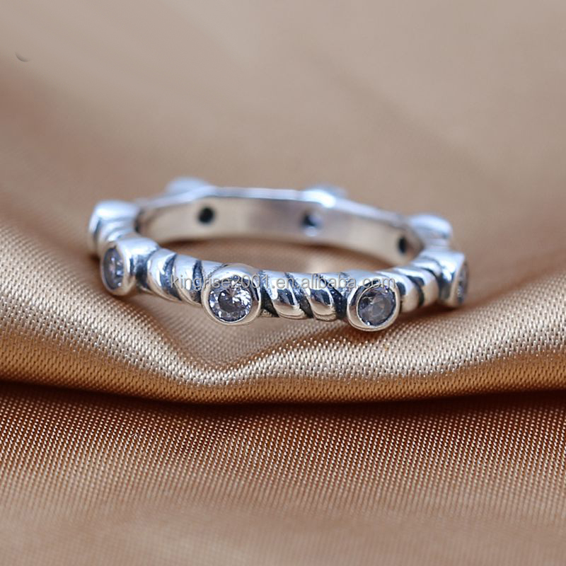 Retro compress silver rings for charm 925 Silver rings jewelry making, CZ Silver rings for men