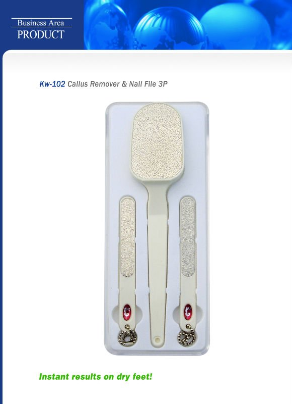 Nickel foot callus remover & nail file 3p set