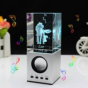 LIWUYOU Engraved Crystal Gifts 3D Constellation of Leo Portable Speaker, Leo