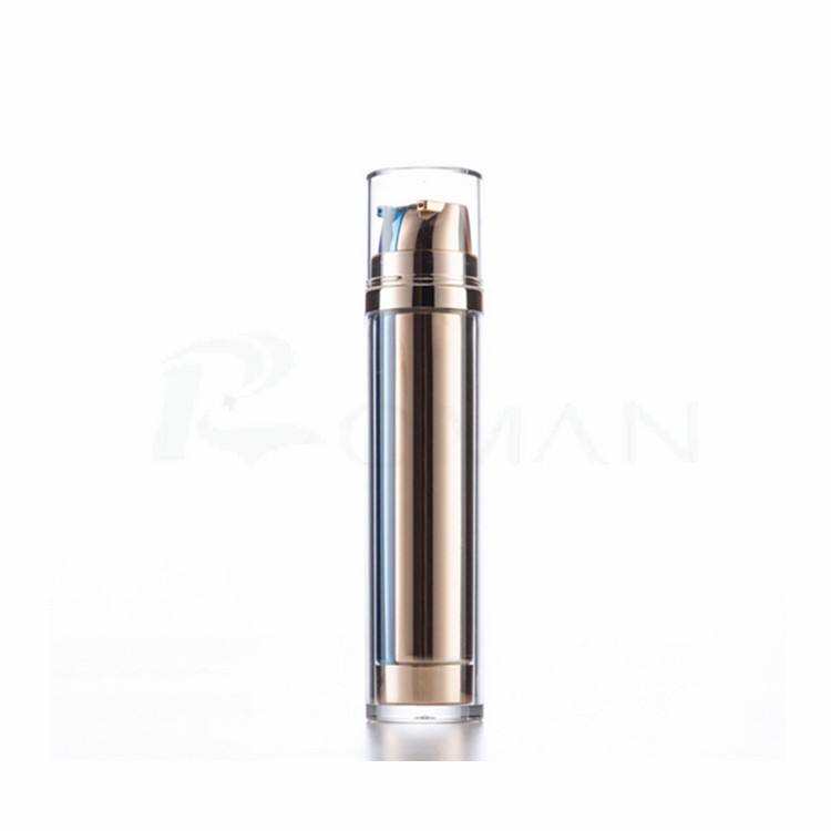 2017 New Products Beauty&Personal Care fancy cosmetic packaging dual chamber pump bottle gold