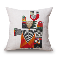 50% polyester 50% linen yarn dyed jacquard cushion cover, Bird printed cushion , home office sofa square bird pillow