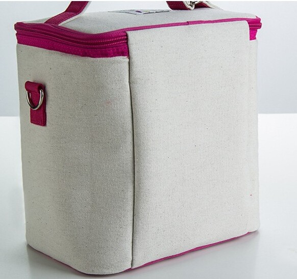CP586 Wholesale Canvas Cooler Bag Fashion Lunch Bag Insulated Cooler Box