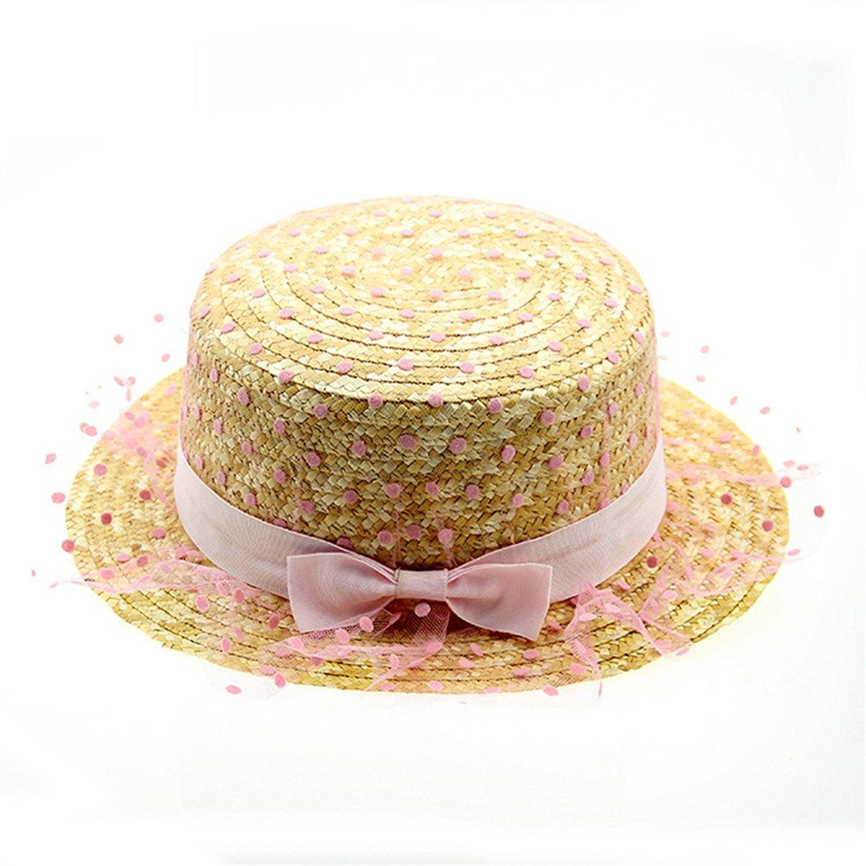 Get Quotations · Hestian Ladies Straw Sun Visor Mesh Dot Pattern Design  Floppy Swimming Beach Straw Hat 4de5b164e145