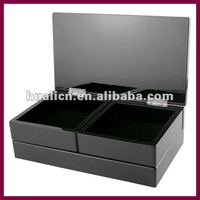 black piano lacquer finish book style wooden gift packaging box