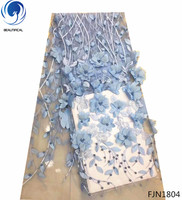 Beautifical good quality african 3d lace fabrics blue lace dress fabric embroidery french beaded lace for dresses FJN18
