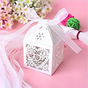Worldoor® 50 Pack White Flower Heart Laser Cut Favor Candy Box Bomboniere with Ribbons Bridal Shower Weddng Party Favors/Love Heart Laser Cut Candy Gift Boxes With Ribbon Wedding Party Favor Creative Favor Bags