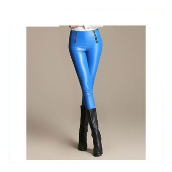 c856881147f1e Matte Metallic High Waisted Leggings,shiny faux leather stretch leggings,golden&white&coffee  pants