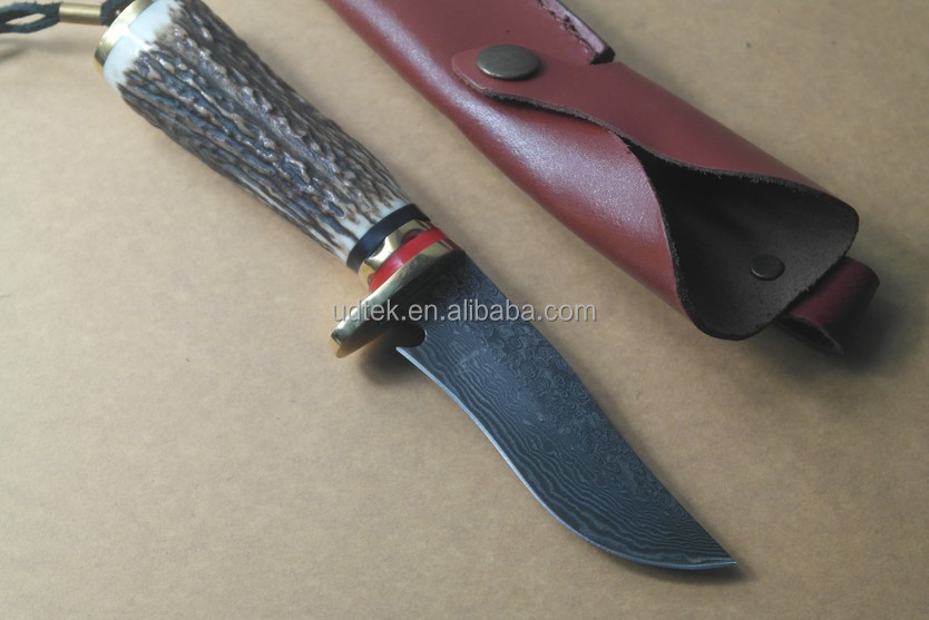 OEM military survival full tang handmade Damascus steel hunting knife