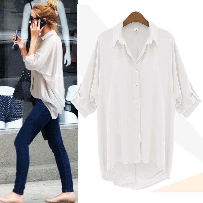 a5764ab8acded2 Fashion Women Chiffon Button Down Shirt Casual Long Sleeve T Shirt Tops  Blouse