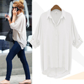Fashion Women Chiffon Button Down Shirt Casual Long Sleeve T Shirt Tops Blouse