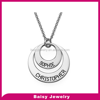 Wholesale Mother Daughter Nameplate Necklace Engraved Name Disc Double  Pendent Personalized Jewelry - Buy Double Pendent Personalized  Jewelry,Engraved