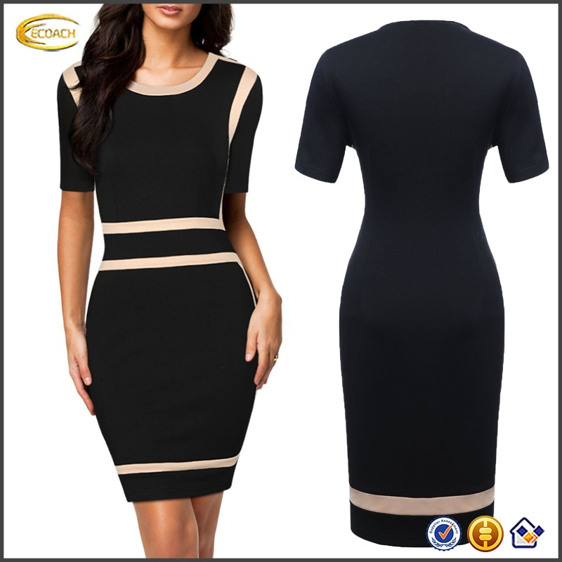 Ecoach Wholesale OEM High Quality Women Scoop Neck Short Sleeve Office Business Bodycon Dress Vintage Party Evening Club Dresses