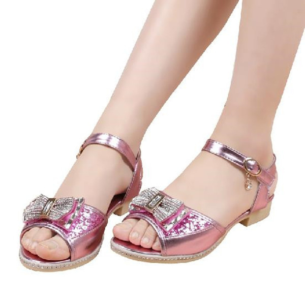 Bowtie Leather Glossy Girls Sandals 2015 Summer Style Rhinestone Children Beach Sandals Kids Girls Shoes Wild Fshion Sandalia