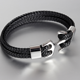 Popular stainless steel anchor vintage knit genuine leather strap bracelet multilayered leather couple men charm bracecet