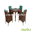 Audu Rattan Dining Table,New Square Rattan 4 Seat Dining Table Setting