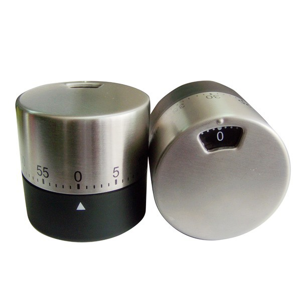 Stainless Steel Material Egg Shape Timer Kitchen Rotate Countdown Timer