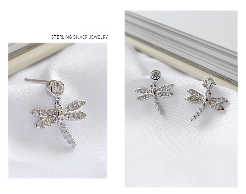 Jewelry Women 925 Sterling Silver Dragonfly Charms Earring