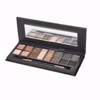 12 colors facial makeup set eyeshadow/highlight with a double-head eyeshadow brush